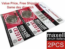 2x Maxell CR2016 2016 3V cell coin button CALC battery Made in Japan Ed 12-2027