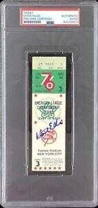 Dock Ellis Signed 1976 ALCS Game 3 Ticket Stub Baseball GW Pitcher PSA/DNA