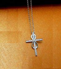 Faith Cross Infinity Symbol Silver SP Pave Cubic Zirconia Pendant Necklace