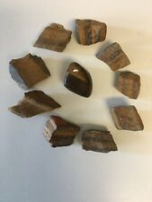 Nine Tigers Eye Natural Golden Brown Gemstone Minerals Stones + One Polished