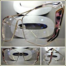 OVERSIZED VINTAGE RETRO CAT EYE Style Clear Lens EYE GLASSES Gold & Floral Frame