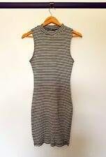 Agent ninetynine womens size L black white striped high neck bodycon dress