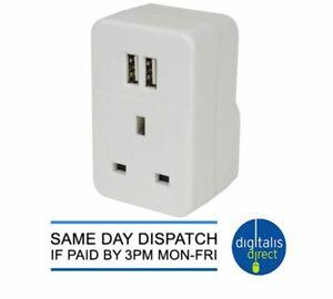 Plug through UK mains adaptor with dual USB Ports 3 Pin Wall Socket 2.4A
