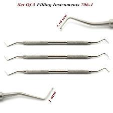 Juego de 3 instrumentos RELLENO AMALGAMA compuesto colocación de compuestos dentales Lab CE