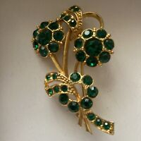 Vintage Costume Jewellery Emerald Green Glass Flower Bouquet Gold Tone Brooch