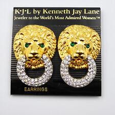 Vtg KJL Lion Door Knocker Clip Earrings Clear Clear Pave Rhinestone Kenneth Lane