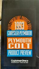 1993 Plymouth Colt Product Preview Dealer VHS  VCR Cassette Tape