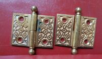 """ANTIQUE CAST BRASS LIFT OFF HINGES 1 LEFT 1 RIGHT HAND 1 1/2"""" X 2"""""""