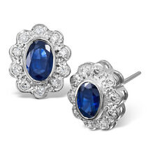 Sapphire and Diamond Cluster Earrings White Gold Studs Appraisal Certificate