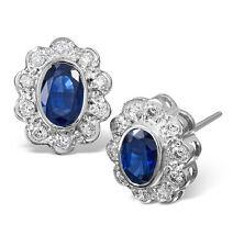 Saphir und Diamant Ohrringe Weiß Gold Stecker Schätzung Zertifikat