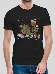 Men's Baby Yoda Groot T-shirt Star Wars  Christmas Tee  Santa Claus Small to 5xl