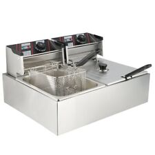 5000W 20L Elektrische Fritteuse Fritöse Edelstahl Doppel Friteuse Commercial Fry