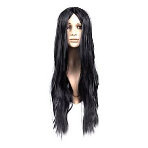 Adult Long Straight Fancy Dress Cosplay Synthetic Hair Wig Halloween - Black