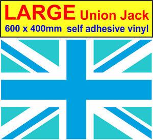 600x400mm Large union jack stickers Blue, adhesive vinyl decal GB Drift car van