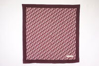 Christian Dior 78cm Large Scarf 100% Silk Trotter Pattern Stole Bordeaux 4615k