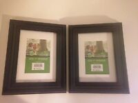 """Two Resin Picture Frame 7X9"""" Photo 5X7"""" Black Classic Home Decor New Old Stock 6"""