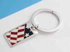Enamel Flag Key Ring Key Chain Keychain Tiffany & Co Rare Silver Blue White