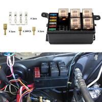 Universal 12V Car Marine 6-Way Relay+ 6-Slot ATO/ATC Blade Fuse Holder Box Block