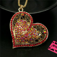 Betsey Johnson  Shiny Rhinestone DZ AB Red Heart Crystal Pendant Chain Necklace