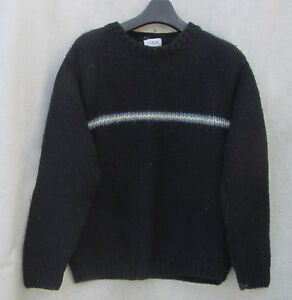 L J CREW Black HAND KNIT THICK Chunky WOOL WINTER Sweater $10.50 SHIP SKI EUC