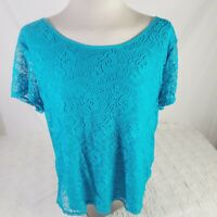Leo And Nicole Womens Blouse Size XXL Blue Teal Shirt Layered Lace Overlay