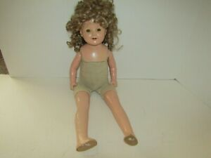VINTAGE DOLL UNMARKED SHIRLEY TEMPLE COMPOSITION 25 INCH BLONDE HAIR SLEEP EYES