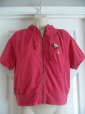 HOT PINK CROPPED SHORT SLEEVE COTTON TOP HOODIE JACKET - SIZE 12 - NEW