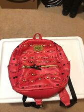 Betsey Johnson Red Orange Leather Mini Backpack Gold Studded Purse Designer Bag