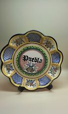 Mexican Ceramic Hanging Plate Hand Painted Multi Color Puebla signed