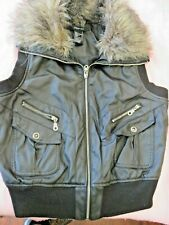 Ladies Faux Leather Moto Style Black Vest Fur Collar By Paper Tee Size Large