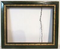 ART DECO GILDED / GREEN WOOD CARVED FRAME FOR PAINTING, PRINT, 12  x 9 1/2  INCH