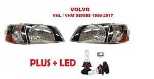 VOLVO VNL 300 VNM 200 Series 2000-2017 Headlights Corner w/LED BLACK 4PC SET