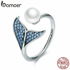 Bamoer 925 Sterling Silver Open Ring Fish tail with Pearl With CZ Women Jewelry