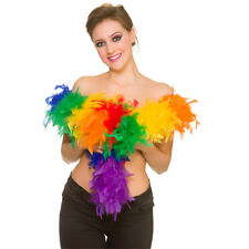 Rainbow Multi Coloured Feather Boa Ladies Fancy Dress Accessory 60gm/1.7m
