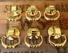 Vintage Set 6 x Brass Drawer Pulls Dutch Drop Handles Knobs Antique Style H14
