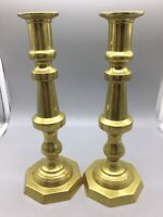 "Lot 2 11"" Solid Brass 1 1/8"" Candle Pair Stick Holders Set Vintage"