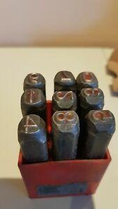 P Anciens chiffres poinçons à frapper 8 mm  9 poinçons boite rouge