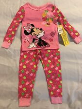 Disney Store Minnie Mouse Apple Tree Floral Pink Pajamas PJ Girls New NWT Size 2