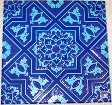 """Blue & Turquoise Seljuk/Iznik Geometric & Floral 8""""x8"""" Turkish Ceramic Tile"""