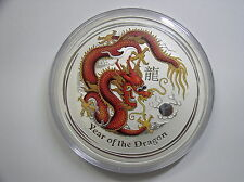 """Australien , 10 Dollar 2012 ST, Lunar II  """" Jahr des Drachen """", Silber + Farbe"""