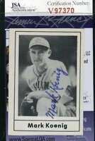 Mark Koenig 1978 Grand Slam Jsa Coa Hand Signed Authentic Autograph