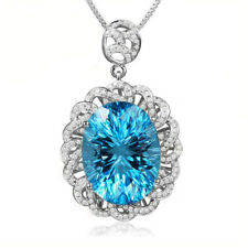 New Handmade Jewelry Gift Swiss Blue Topaz Gems Women Silver Necklace Pendants