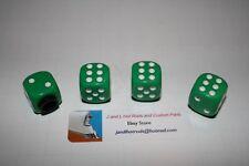 Green  Dice with White  Pips Valve Stem Caps, T bucket, Hot Rod Valve Caps
