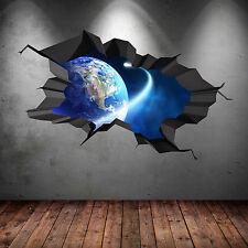planète espace Universe Galaxy monde fissuré 3D autocollant Art mur garçon