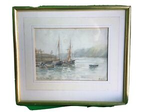 Clovelly Pier - a watercolour painted in 1895.