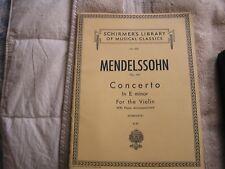 Schirmer's Library Of Musical Classics Mendelssohn Vol. 235 Violin 1923