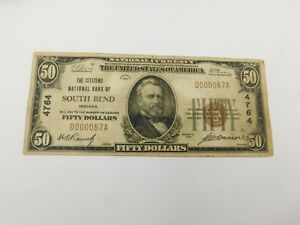 1929 $50 Citizens National Bank Note - South Bend Indiana Only made $50 & $100