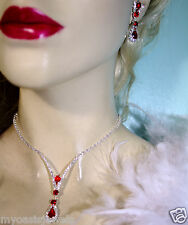 Red Rhinestone Crystal Necklace Earring Set Bridal Prom Jewelry