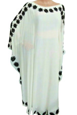 Dubái Blanco Marroquí Caftán Abaya Jalabiya Étnico Fiesta Manga Larga Vestido