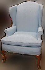 Light Blue Upholstered Queen Anne Style Wingback Chair